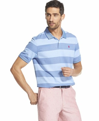 Izod Men's Advantage Performance Slim Fit Striped Polo Shirt