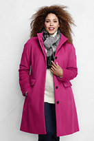 Lands' End Women's Plus Size Luxe Wool Car Coat-Light Rich Red