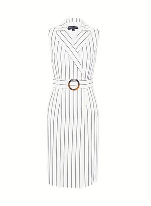 Dorothy Perkins Womens White Pinstriped Tailored Wrap Dress, White