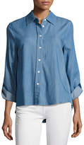 Generation Love Kris Denim Accordion-Pleated Shirt, Blue