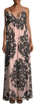 Trina Turk Surplice Sleeveless Floral-Printed Silk Chiffon Maxi Dress