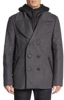 Mackage Leather Accented Wool-Blend Peacoat