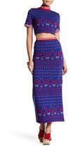 Anna Sui Knit Swan Jacquard Maxi Skirt