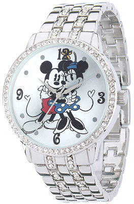Disney Princess Disney Mickey/Minnie Mouse Womens Crystal-Accent Silver-Tone Bracelet Watch Family
