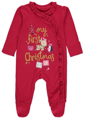 George Red My First Christmas Sleepsuit