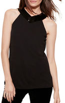 Lauren Ralph Lauren Beaded V-Neck Jersey Tank Top