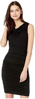 Nicole Miller Solid Jersey Cowl Neck Tuck Dress (Black) Women's Clothing