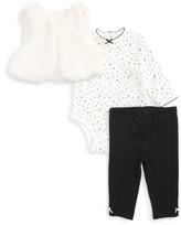 Little Me Infant Girl's Dalmatian Fleece Vest, Bodysuit & Leggings Set