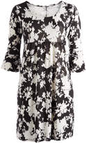 Glam Black & White Abstract Empire-Waist Dress - Plus
