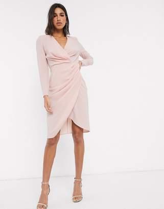 Asos Design DESIGN long sleeve pleat front wrap midi dress-Pink