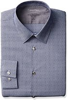 Calvin Klein Men's Stretch Xtreme Slim Fit Textured Mini Check Point Collar Dress Shirt
