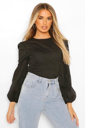 boohoo Cotton Poplin Corset Binding Blouse