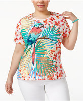 Alfred Dunner Plus Size Classics Tropical-Print T-Shirt