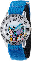 Disney Boys Mickey Mouse Black and Silver Tone Time Teacher Strap Watch W002995