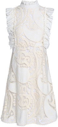 See by Chloe Ruffled Twill-trimmed Cotton-blend Guipure Lace Mini Dress