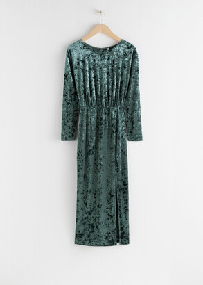 And other stories Velvet Keyhole Back Midi Dress