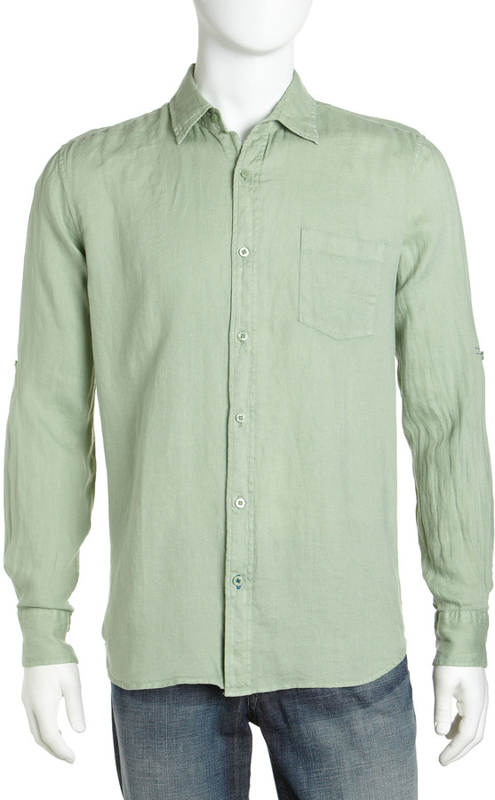 Neiman Marcus Linen Dress Shirt, Seafoam