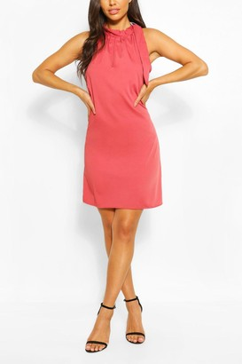 boohoo Tie Neck Sleeveless Swing Dress