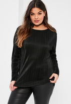 Missguided Plus Size Exclusive Black Pleated Long Sleeve Crew Neck Top