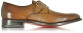 Santoni Brown Leather Monk Strap Shoes