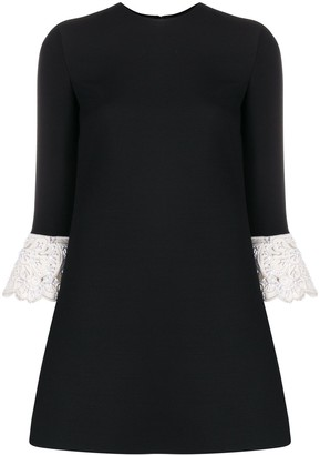 Valentino Contrasting Lace Sleeves Mini Dress