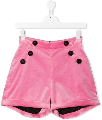 Balmain Kids TEEN button detail shorts