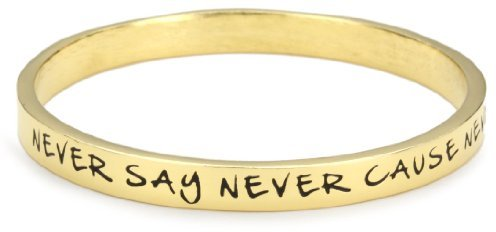 Ettika Gold Colored Bangle Never Say Never 'Cause Never is Forever