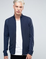 Sisley Zip Thru Cardigan with Ribbed Panelling