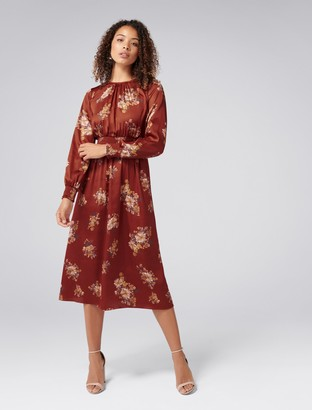Forever New Shona Shirred Waist Midi Dress - Desert Rose - 6