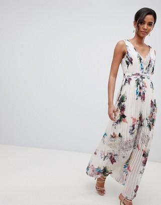 Little Mistress pleated maxi dress in floral print in cream multi