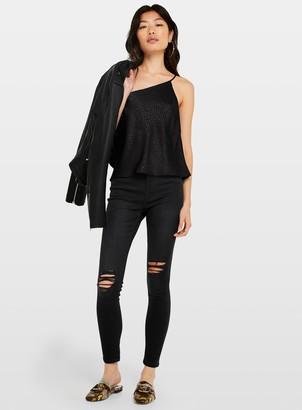 Miss Selfridge LIZZIE Black Ripped High Waist Jeans