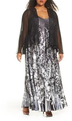 Komarov Floral Charmeuse & Chiffon Maxi Dress & Jacket (Plus Size)
