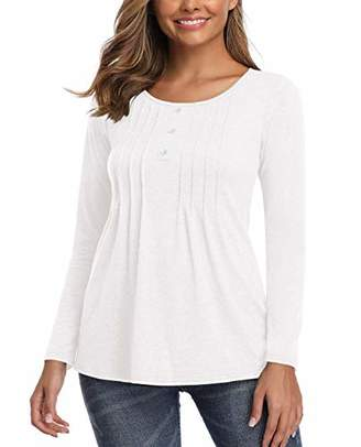 Fall Tops for Women Casual Loose Fit Long Sleeve Tunics Button up Pleated Blouses White XL