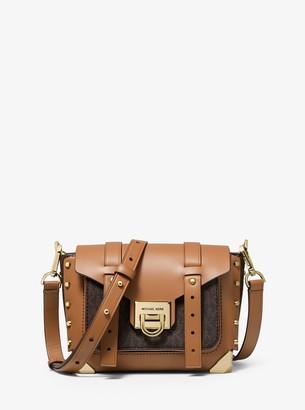MICHAEL Michael Kors Manhattan Small Leather and Logo Crossbody Bag