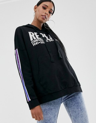 Replay Logo Sweater oversized in black