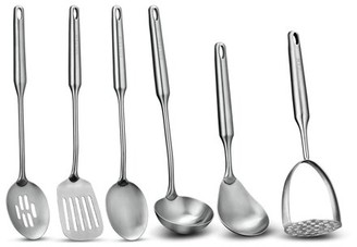 Soltam 6 Piece Stainless Steel Cooking Utensil Set | Seamless Design, Brushed Finish, Dishwasher Safe, Slotted Spoon, Solid Spoon, Rice Spoon, Soup Ladle, Slotted Turner, Potato Masher
