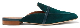 Malone Souliers Jada Suede Square-toe Backless Loafers - Womens - Green