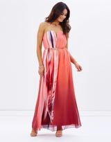 Little Mistress Feather Print Bandeau Maxi Dress