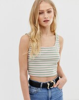 Glamorous knitted crop top in stripe