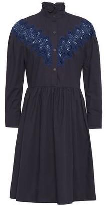 Sandro Laura Guipure Lace-trimmed Gathered Cotton-poplin Mini Dress