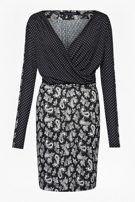 French Connection Mini Paisley Cowl Neck Dress