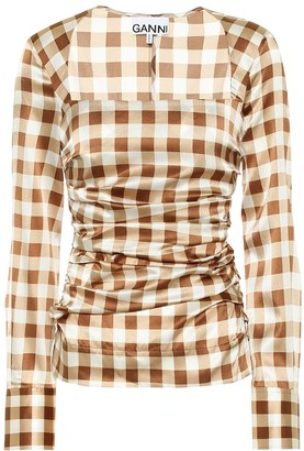 Ganni Checked stretch-silk satin shirt