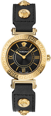 Versace Tribute Watch with Leather Strap, Yellow Gold/Black