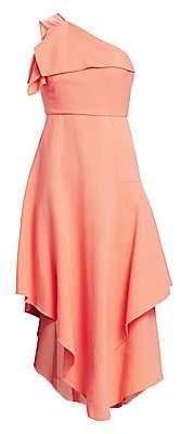 Oscar de la Renta Women's One-Shoulder Asymmetric Ruffle Dress