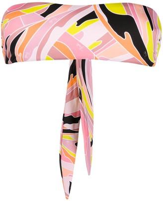 Emilio Pucci Vetrate-print bandeau bikini top