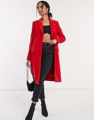Helene Berman button-down college coat in red