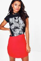 Boohoo Heather Block Colour Curve Hem Mini Skirt