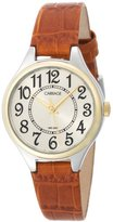 Timex Carriage Women's C3C401 Two-Tone Round Case Champaign Dial Brown Croco Leather Strap Watch