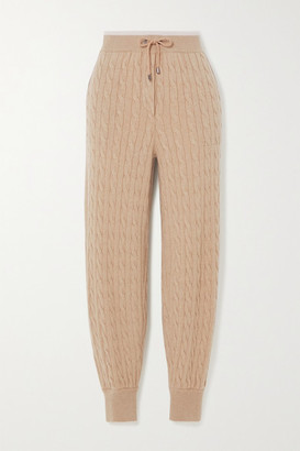 Brunello Cucinelli Bead-embellished Cable-knit Cashmere Track Pants - Beige