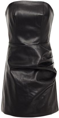 De La Vali Connie Strapless Faux Leather Mini Dress